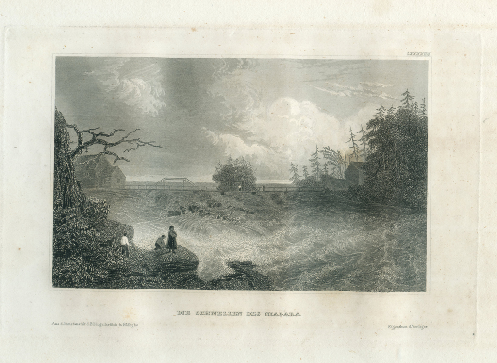 Antique Engraving - The Rapids Of The Niagara (1836)