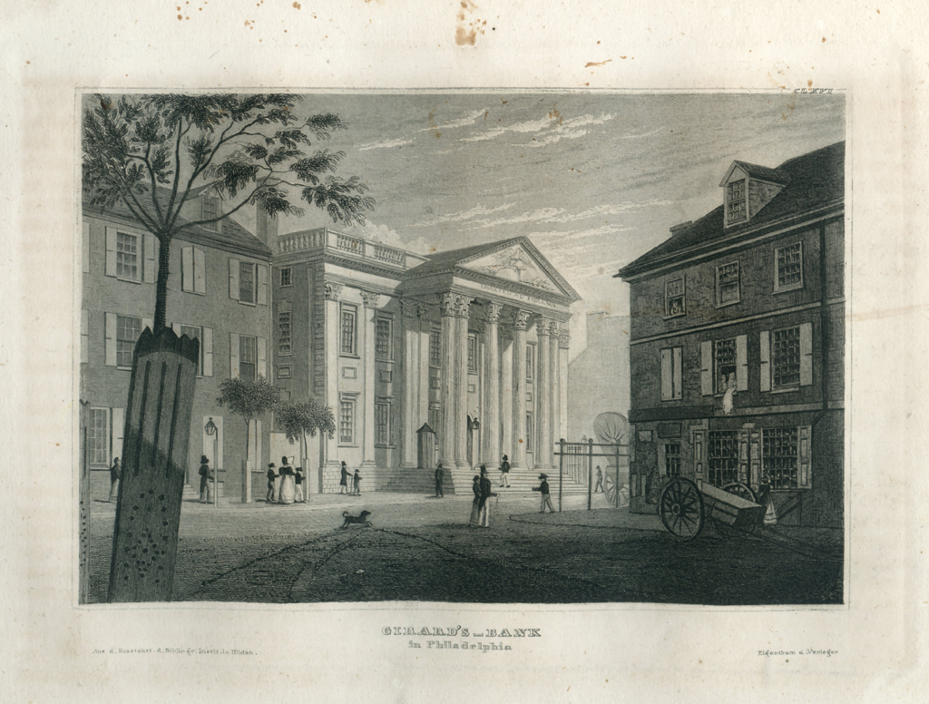 Antique Engraving - Girard's Bank Philadelphia (1836)