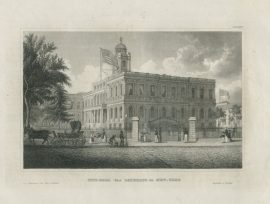 Antique Engraving - City Hall in New York (1850)