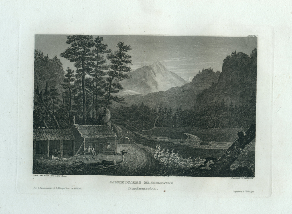 Antique Engraving - Ansiedler's Blockhouse (1833)