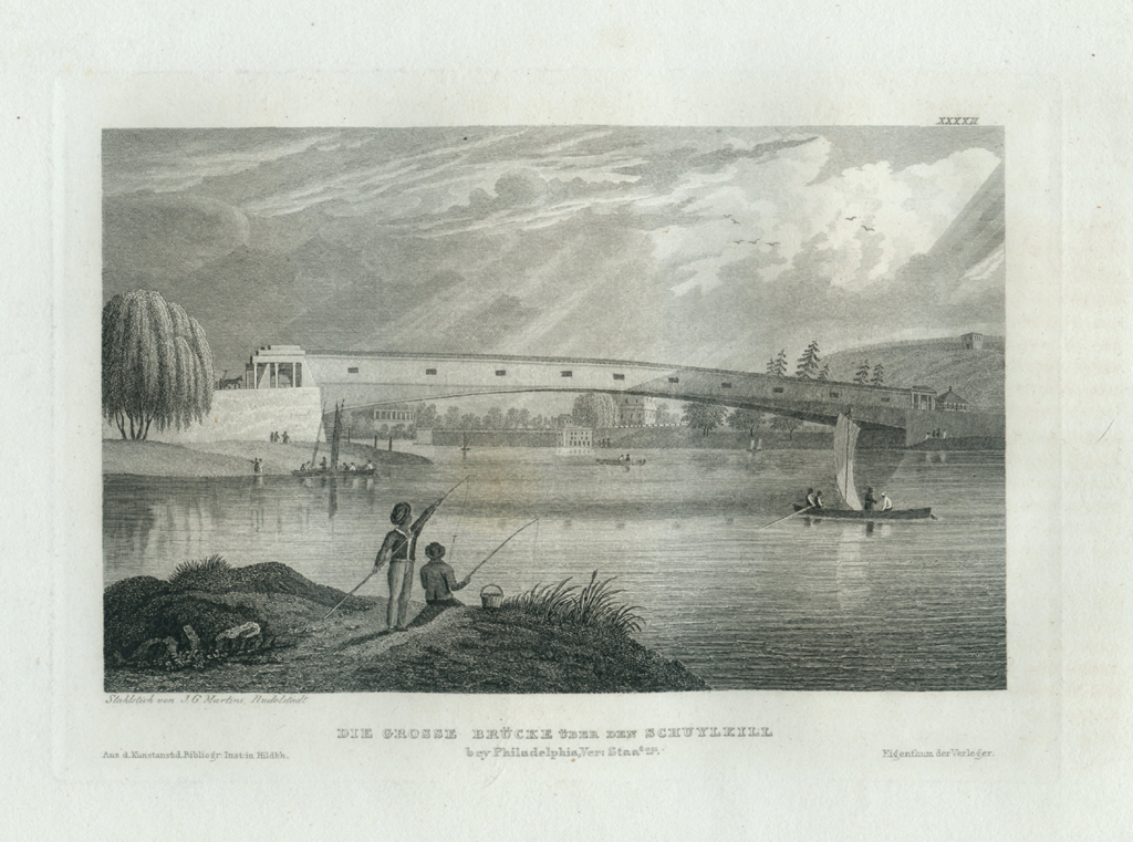 Antique Engraving - The Grand Bridge Over the Schuylkill (1833)