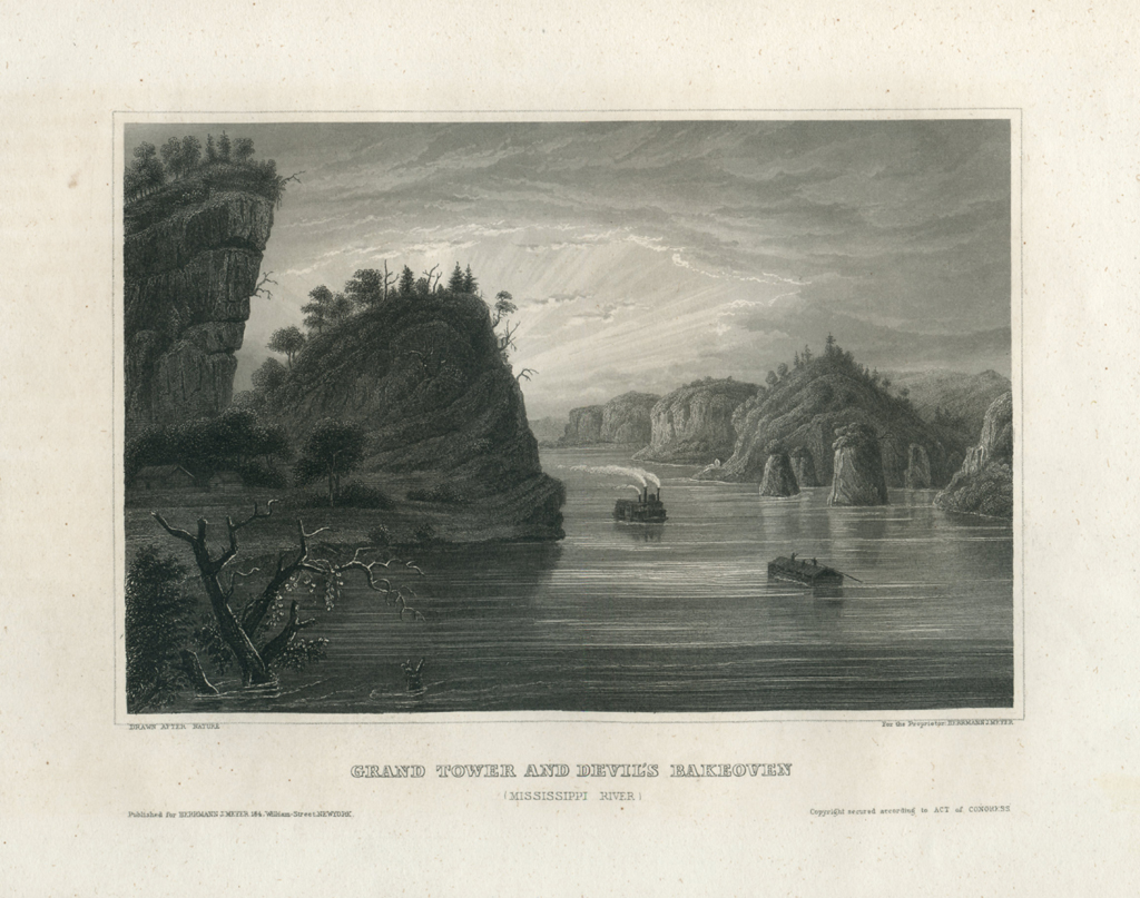 Antique Engraving - Grand Tower, Mississippi River (1856)