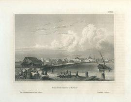 Antique Engraving - Galveston in Texas (1856)