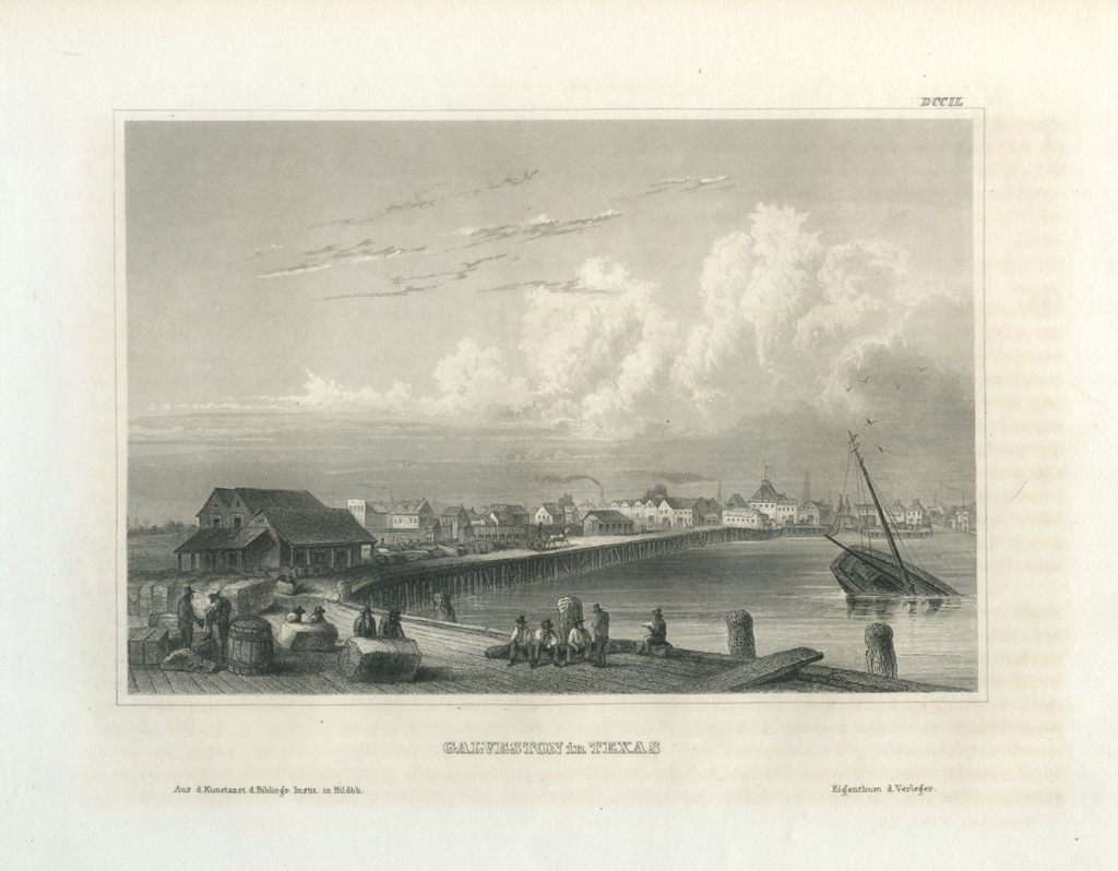 Antique Engraving - Galveston in Texas (1856)