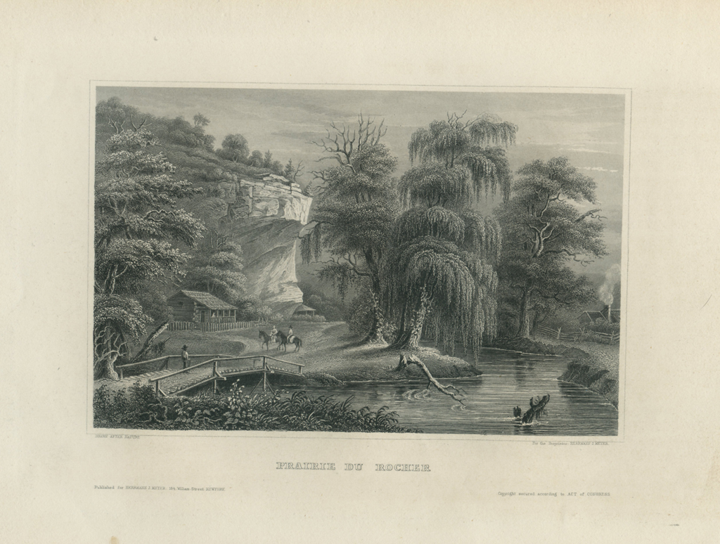 Antique Engraving - Prairie du Rocher (1854)