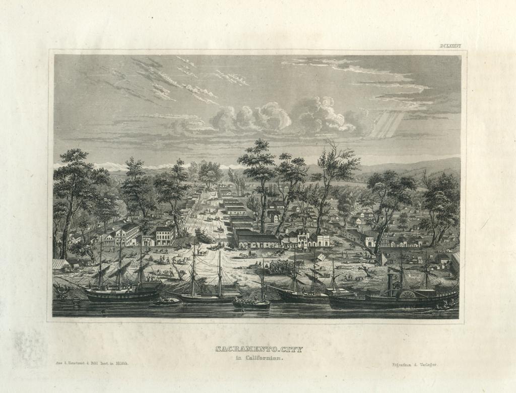 Antique Engraving - Sacramento City, California (1856)