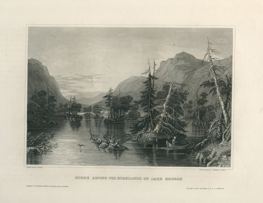 Antique Engraving - Highlands on Lake George, New York (1856)