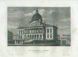 Historic Engraving - Das Rathhaus in Boston
