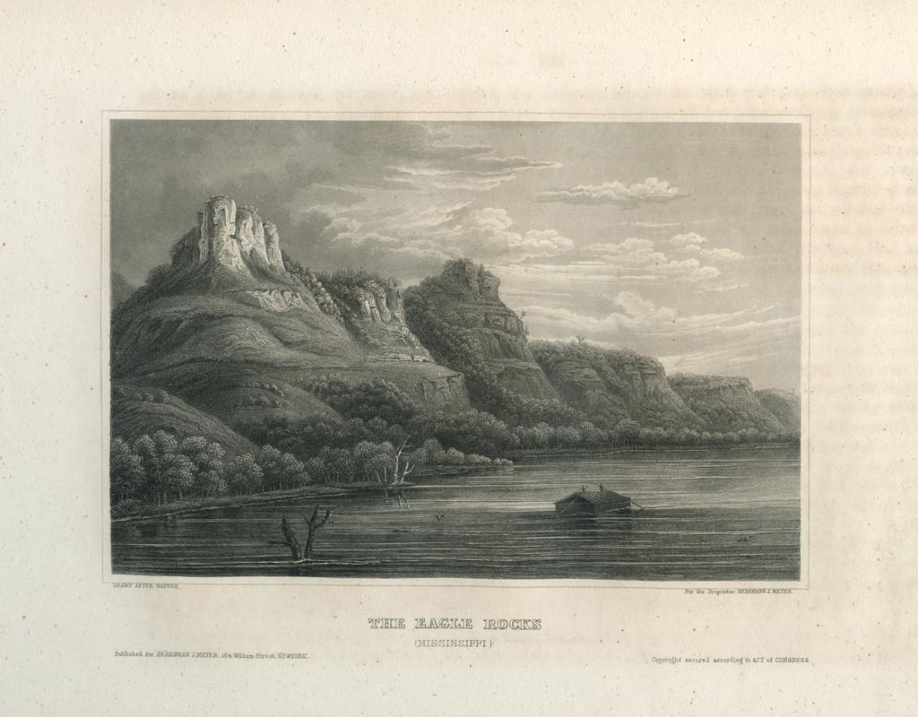 Antique Engraving - The Eagle Rocks, Mississippi (1854)