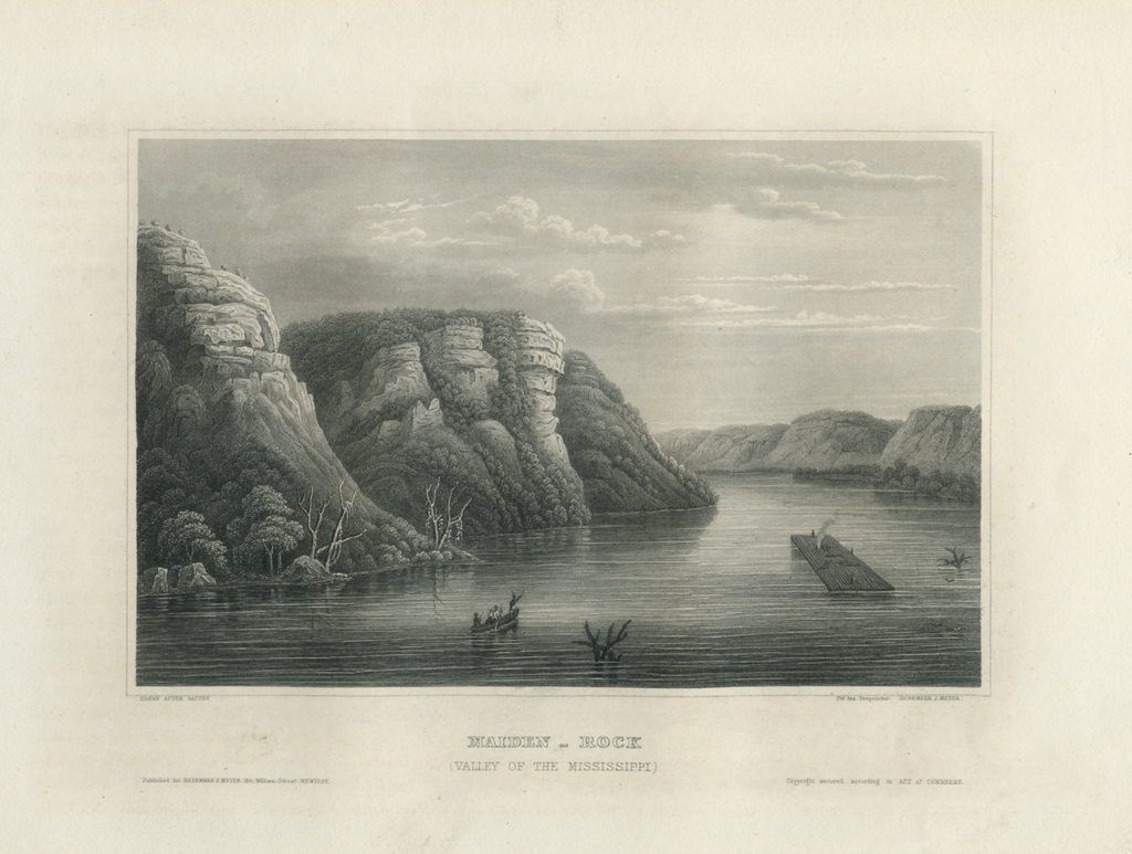 Antique Engraving - Maiden Rock, Valley of the Mississippi (1856)