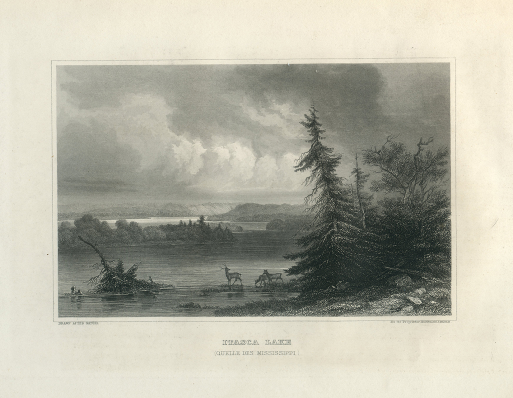 Antique Engraving - Itasca Lake (1854)