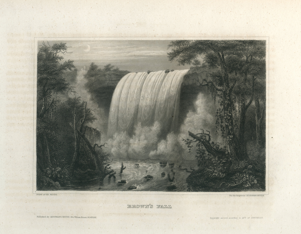 Antique Engraving - Brown's Fall, Mississippi (1856)