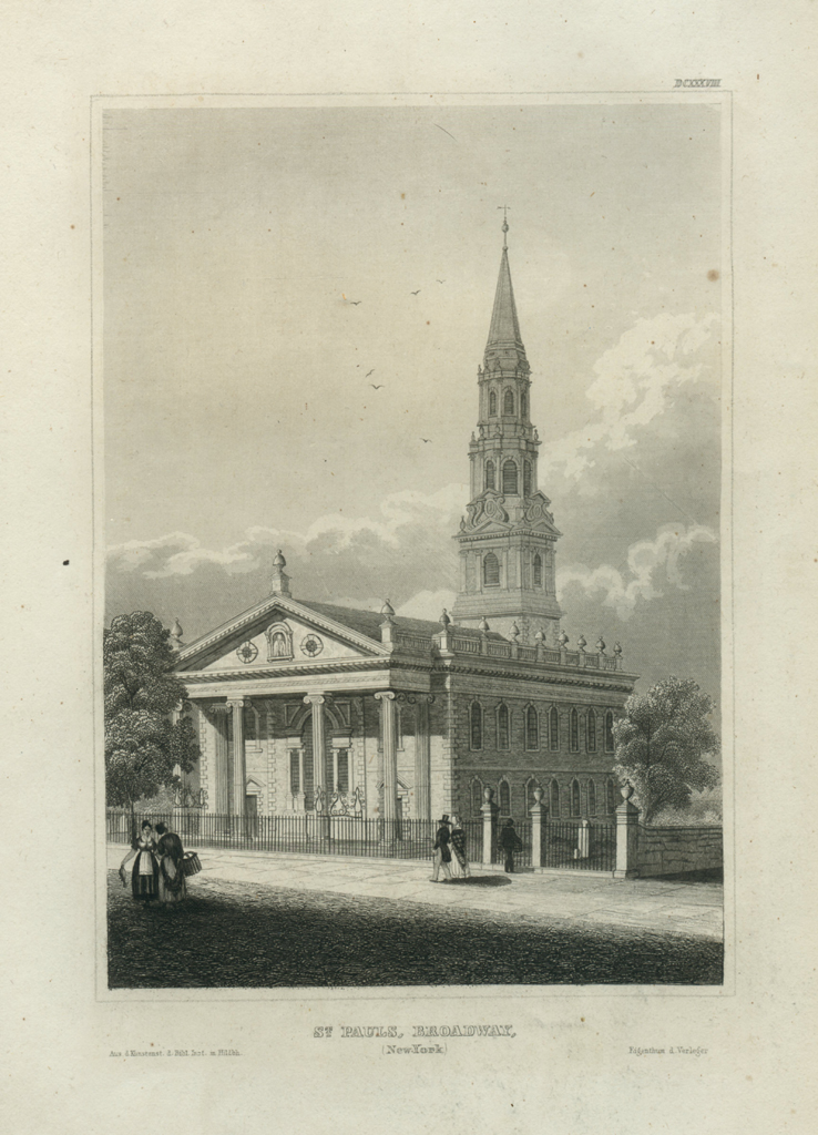 Antique Engraving - St. Pauls, Broadway, New York (1850)