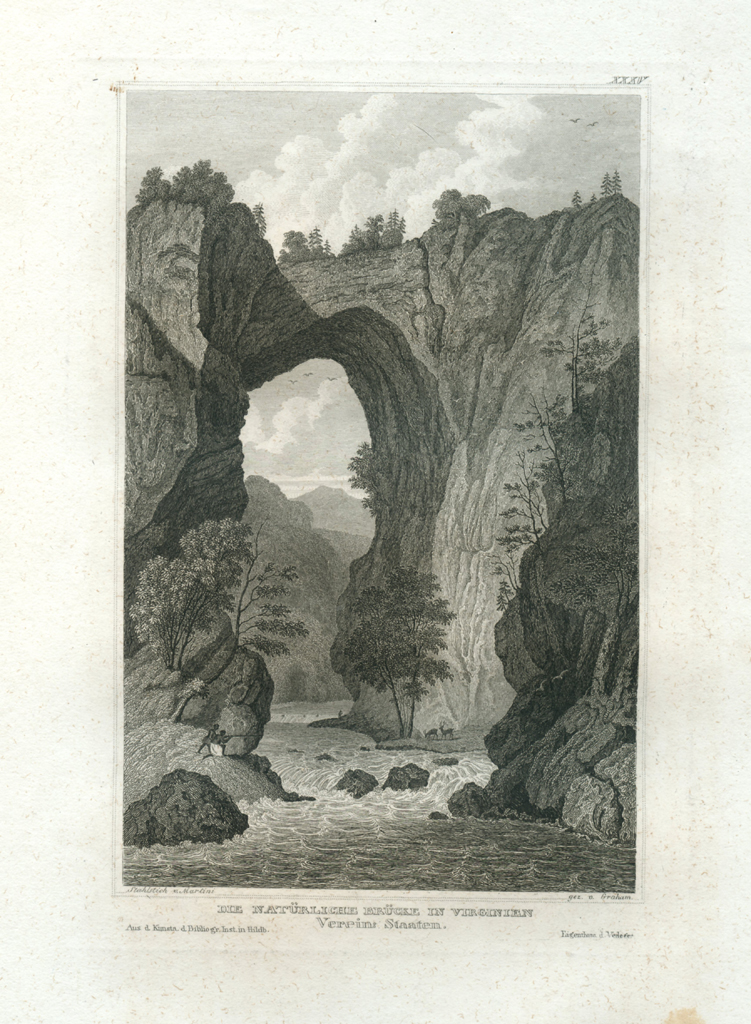 Antique Engraving - The Natural Bridge in Virginia (1833)