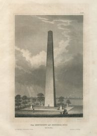 Antique Engraving - The Monument on Bunkers Hill (1850)