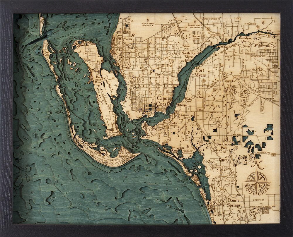 Bathymetric Map Ft. Myers, Florida