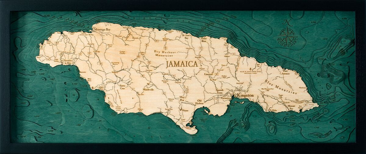 Bathymetric Map Jamaica