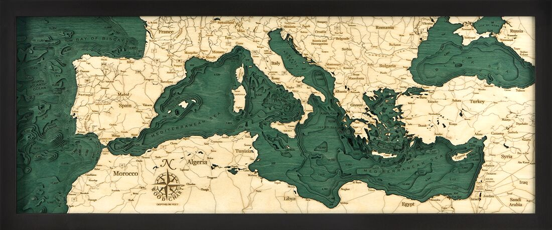 Bathymetric Map Mediterranean Sea