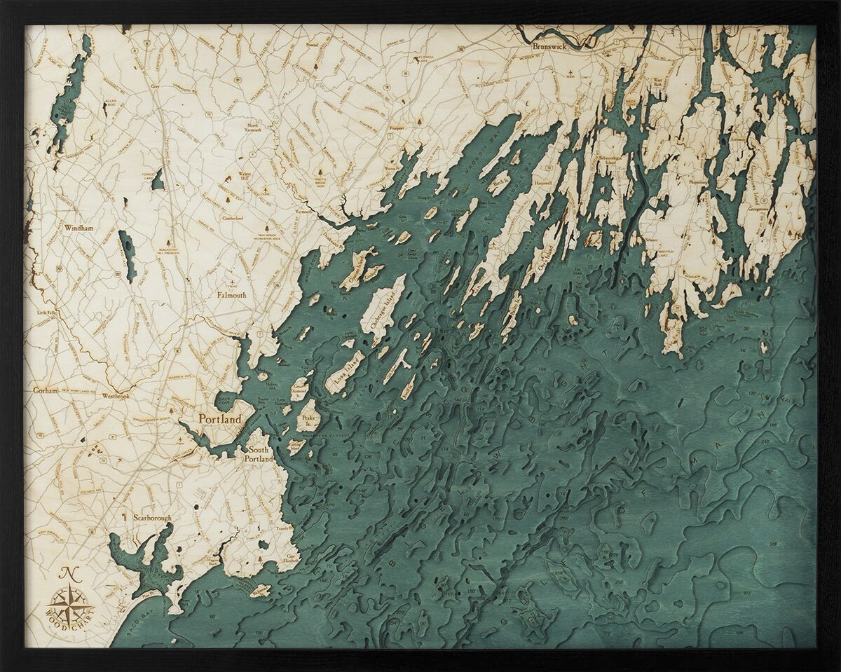 Bathymetric Map Portland, Maine