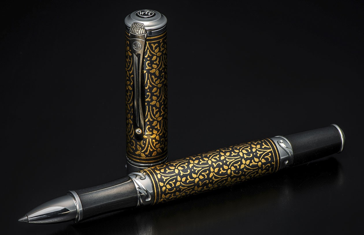 William Henry Cabernet 'Ivy' Rollerball Pen - Koftgari