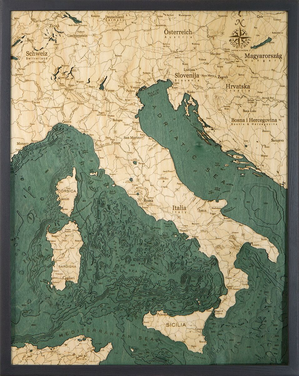 Bathymetric Map Italy