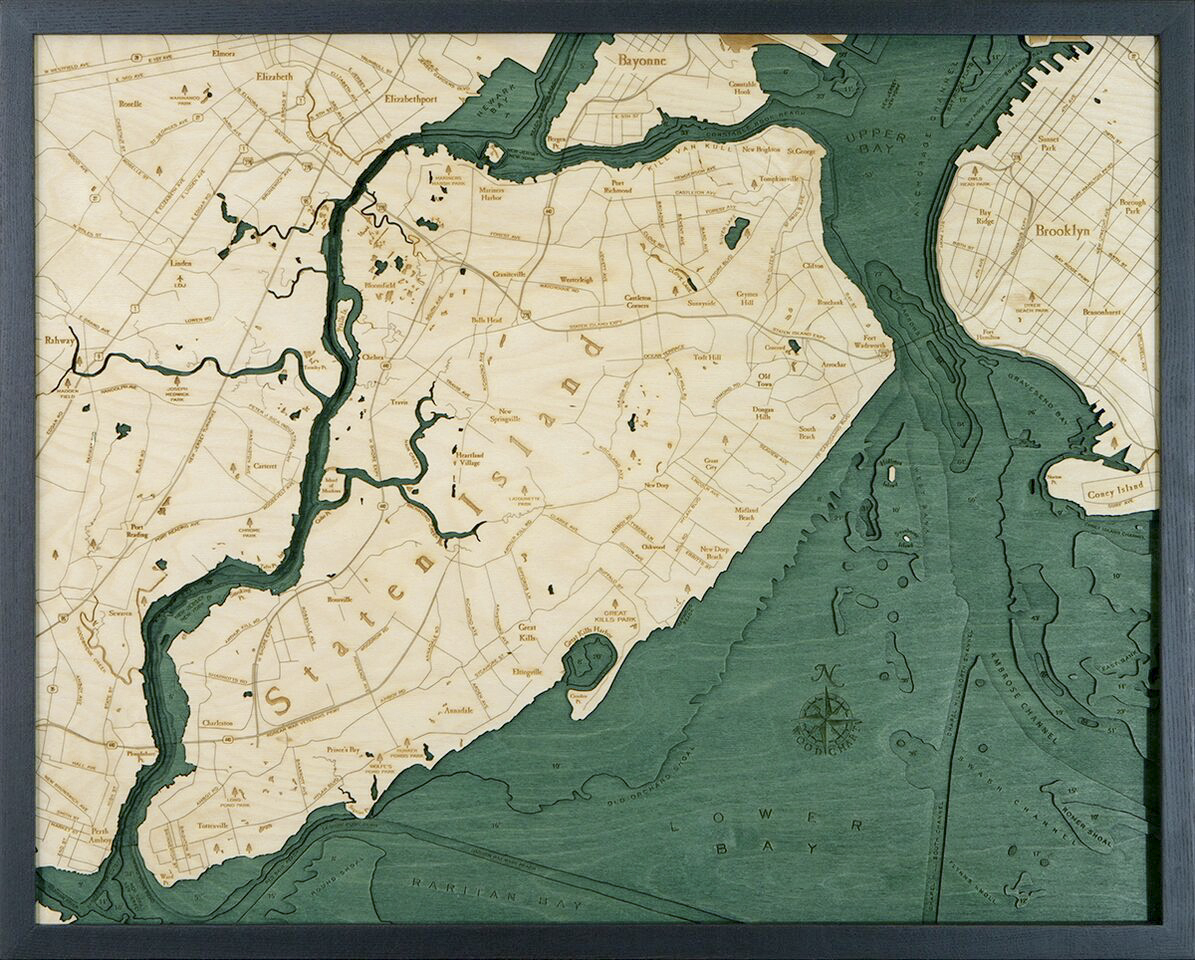 Bathymetric Map Staten Island, New York