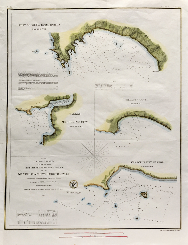 U.S. Coast Survey Map Western Coast of the United States (1854)