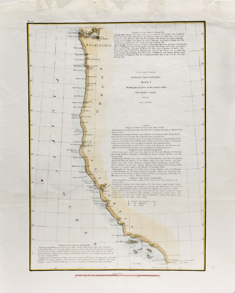 U.S. Coast Survey Map Coast of California (1849 - 1855)