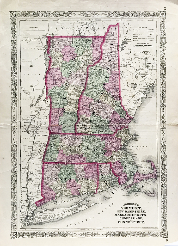 Antique Map - Vermont, New Hampshire, Massachusetts, Rhode Island, Connecticut State Map (1864)