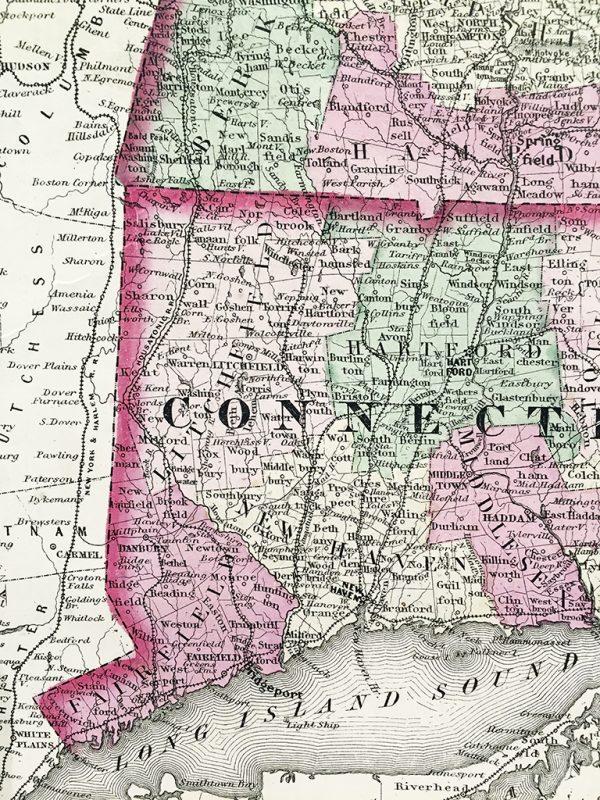Antique Map - Vermont, New Hampshire, Massachusetts, Rhode Island, Connecticut State Map (1864)