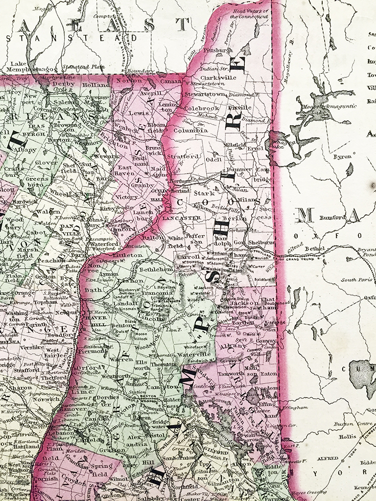 Vermont New Hampshire Massachusetts Connecticut State Map - Nh state map