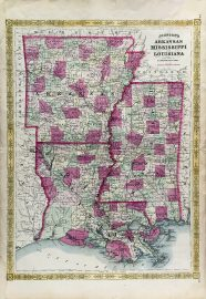 Antique Map - Arkansas Mississippi and Louisiana State Map (1866)