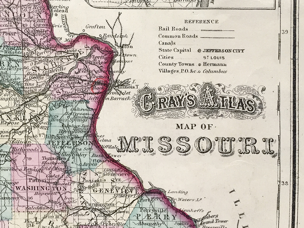 Antique Map Missouri State Map Scrimshaw Gallery - Missouri state map with cities