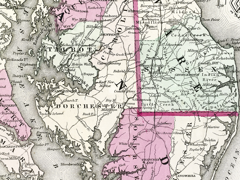 Antique Map - Delaware and Maryland State Map (1866)