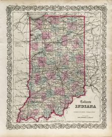 Antique Map - Indiana State Map (1855)