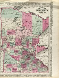 Antique Map - Minnesota State Map (1865)