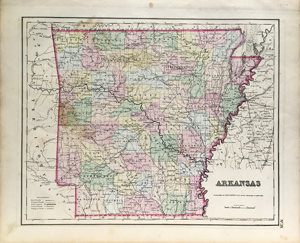 Antique Map - Arkansas State Map (1857) - Scrimshaw Gallery