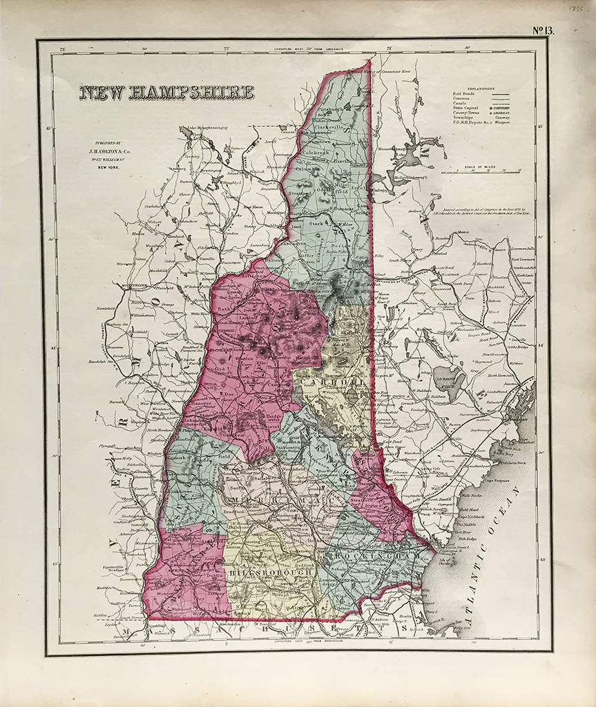 Antique Map - New Hampshire State Map (1855) - Scrimshaw Gallery