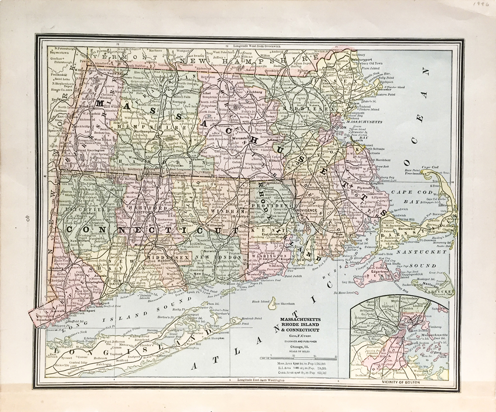 Massachusetts Connecticut And Rhode Island State Map 1886