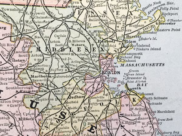 Massachusetts, Connecticut, and Rhode Island State Map (1886)