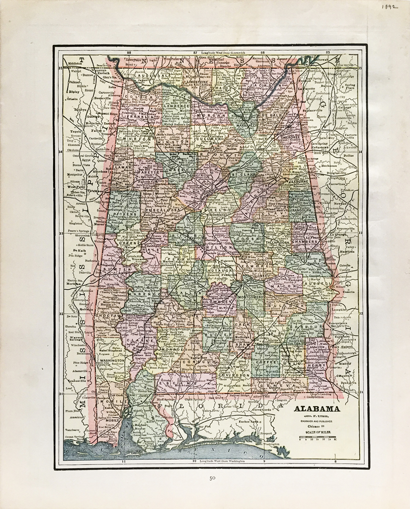 Antique Map - Alabama State Map (1892)