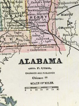 Antique Map - Alabama State Map (1892)
