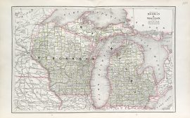 Michigan Wisconsin and Illinois State Map (1886)
