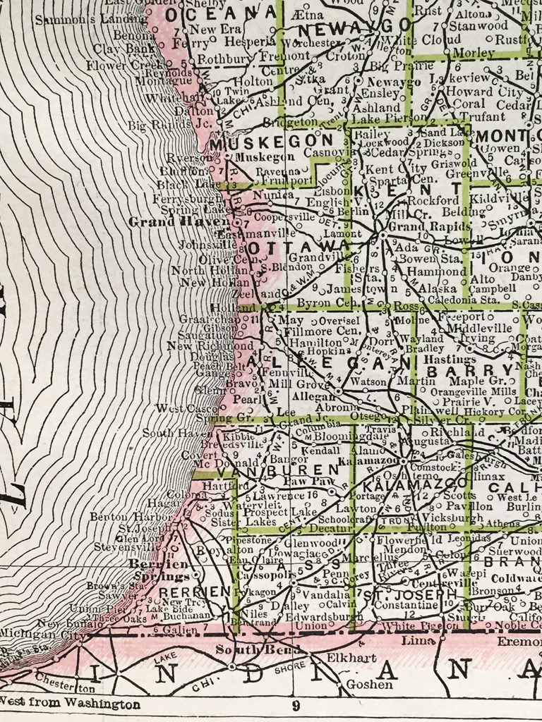 Michigan Wisconsin and Illinois State Map (1886) - Scrimshaw Gallery
