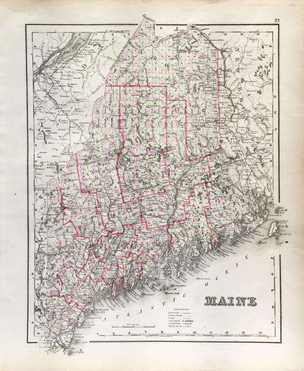 Antique Map - Maine State Map (1855)