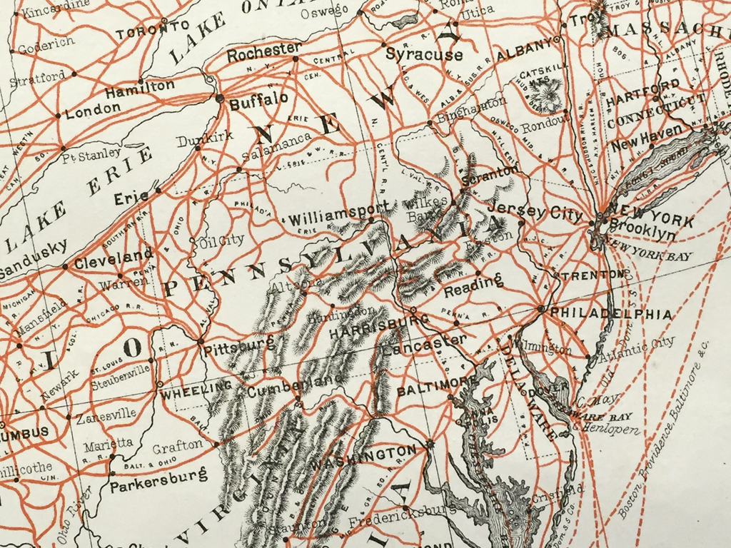 Antique Map United States Railroad Map Scrmshaw Gallery - Us map 1884