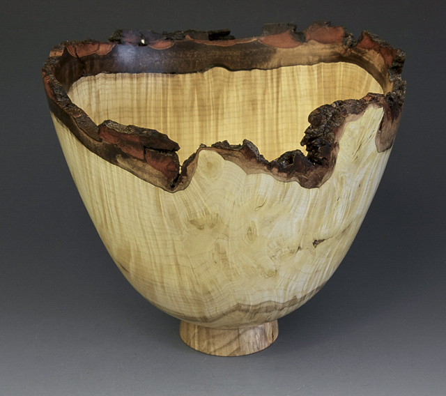 Jerry Kermode - Silver Maple Natural Edge Bowl Burl with Spalting on Bottom
