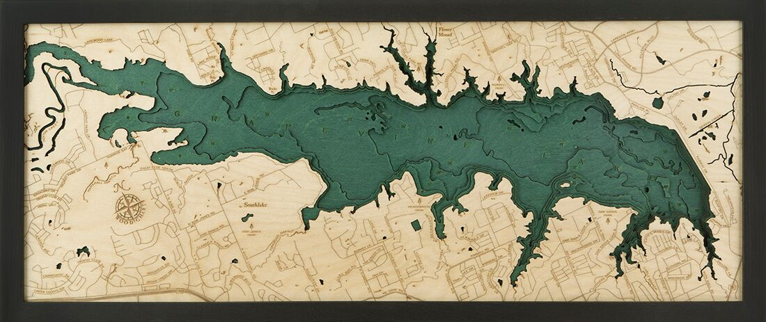Bathymetric Map Grapevine Lake, Texas