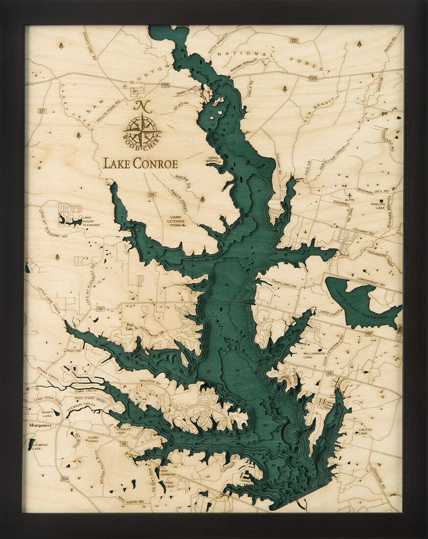 Bathymetric Map Lake Conroe, Texas