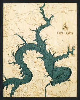 Bathymetric Map Lake Travis, Texas